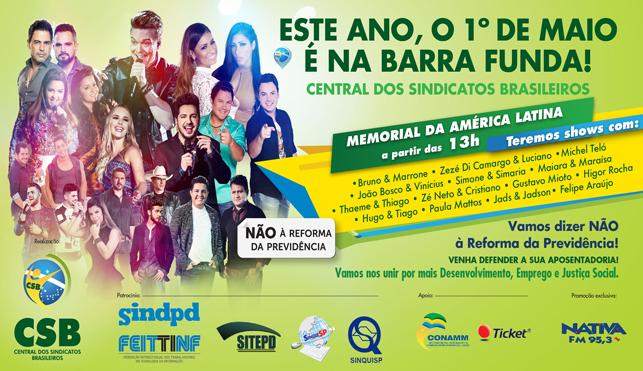 SEAAC E CSB LEVA VOCÊ AO 1º DE MAIO EM SÃO PAULO