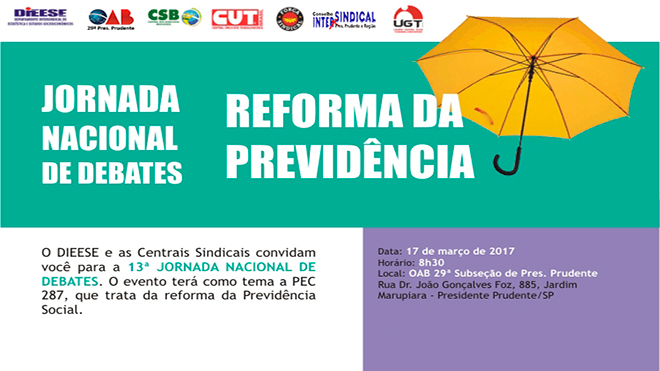 JORNADA NACIONAL DEBATE REFORMA DA PREVIDÊNCIA