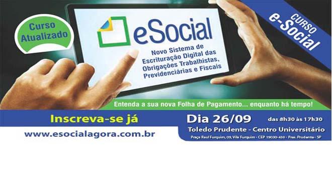 CURSO DE E-SOCIAL EM PRUDENTE NA TOLEDO